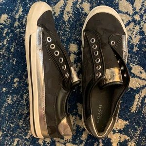 Coach: black and silver slip ons